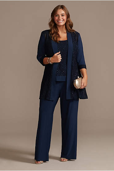 Sequin Lace and Jersey Three-Piece Plus Pantsuit
