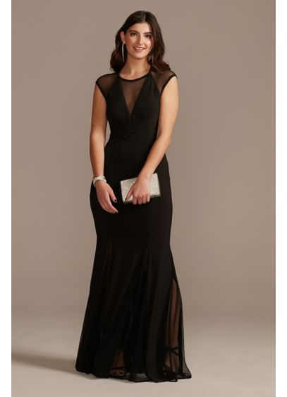 Illusion Cap Sleeve Open Back Jersey Sheath Gown - Modern and sophisticated, this matte jersey sheath gown