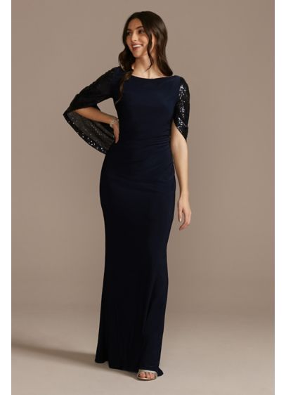 Jersey Sheath Dress with Beaded Swag Sleeves - Elegant, functional, and fashionable, this jersey sheath dress