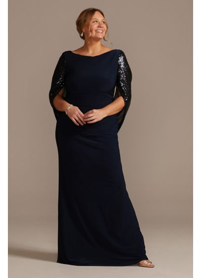 Long Sheath Elbow Sleeves Cocktail and Party Dress - Oleg Cassini