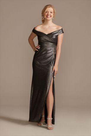 Long Sheath Off the Shoulder Dress - Oleg Cassini