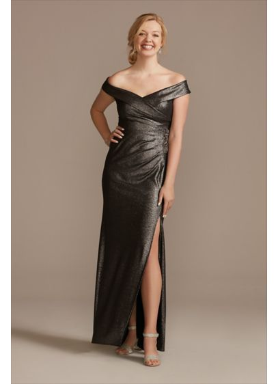 Beaded Ruched Metallic Off-Shoulder Sheath Gown - Hold everything: This look is a true show-stopper!