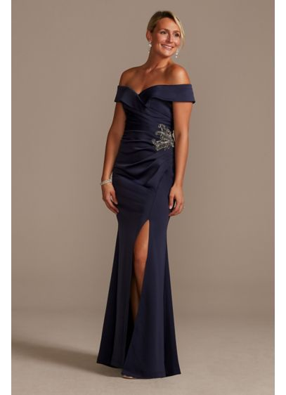 Beaded Waist Crepe Off-the-Shoulder Sheath Gown - A touch of elegance for every event, this