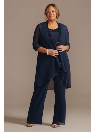 Long Jumpsuit 3/4 Sleeves Cocktail and Party Dress - Oleg Cassini