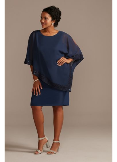 Chiffon Lace-Trimmed Plus Size Capelet Dress - Trimmed in lace and detailed with an elegant