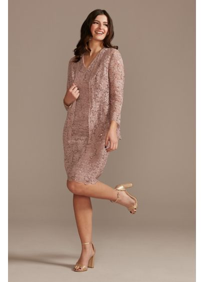 Glitter Lace Short V-Neck Sheath Dress and Jacket - This knee-length, sleeveless sheath dress is crafted of