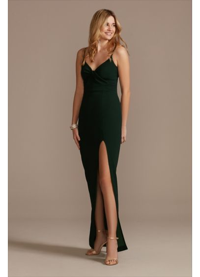 Knotted V-Neck Spaghetti Strap Crepe Sheath Dress - Spaghetti straps, a knotted V-neck, and a front