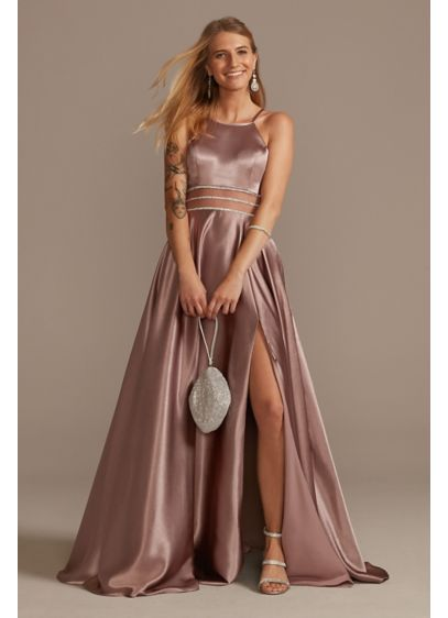 Long A-Line Halter Prom Dress - Jules and Cleo