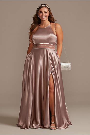 Satin High Neck Illusion Waist Plus A-Line Dress