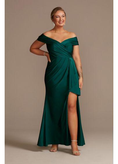 Long A-Line Off the Shoulder Formal Dresses Dress - Oleg Cassini