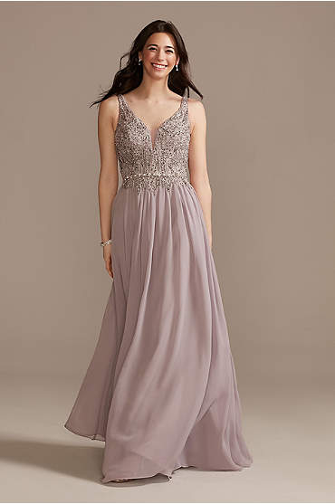 Beaded Bodice Plunge Chiffon Gown