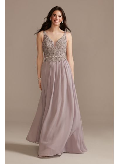 Beaded Bodice Plunge Chiffon Gown - This romantic gown features a bodice covered with