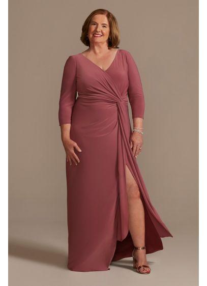 Long Blue Soft & Flowy Oleg Cassini Bridesmaid Dress