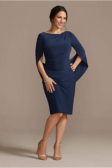 Short Jersey Sheath Dress with Shawl Sleeves