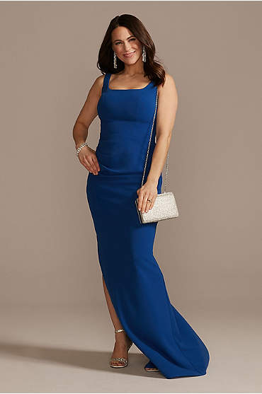 Crepe Floor Length Sheath Party Dress with Ruching