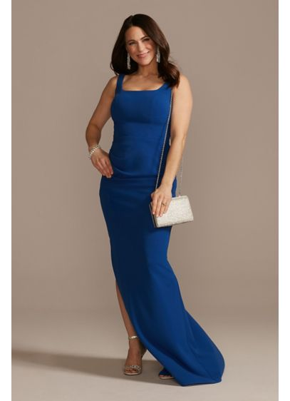 Crepe Floor Length Sheath Party Dress with Ruching - This simple yet glam silhouette hugs the body