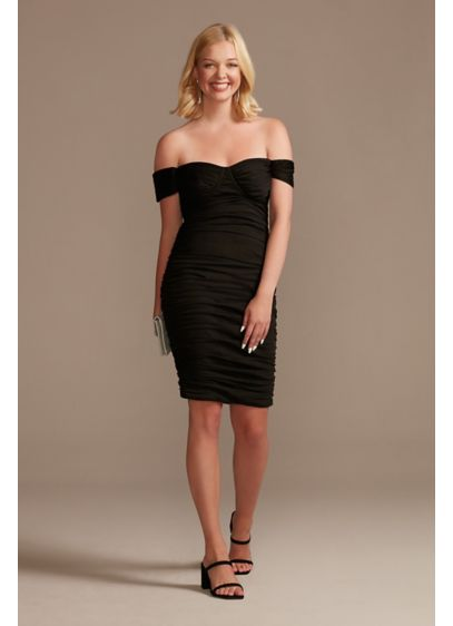 Off-the-Shoulder Mesh Mini Sheath Dress - Play up your sophisticated side in this off-the-shoulder