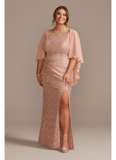 Draped Lace Floor-Length Dress with Matching Shawl - A classic long lace dress that's perfect for