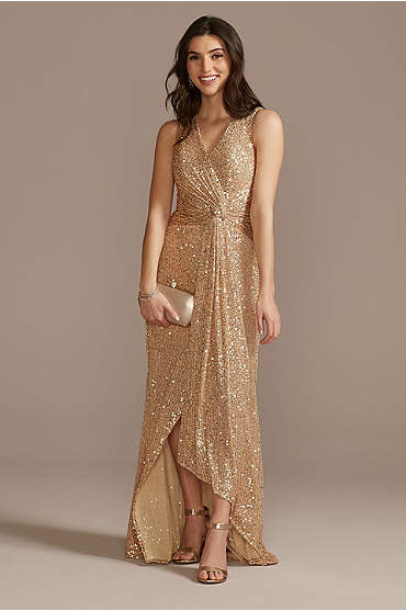 V-Neck Sequin Sheath Gown with Knot Detail