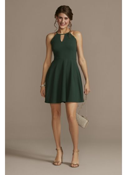 High Neck Mini Dress with Scallop Detail - This high neck mini dress is full of