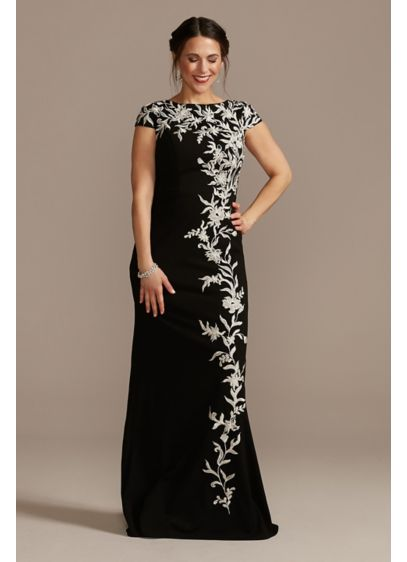 Crepe Cap-Sleeve Gown with Embroidered Flowers - A beautiful formal dress with cap sleeves and