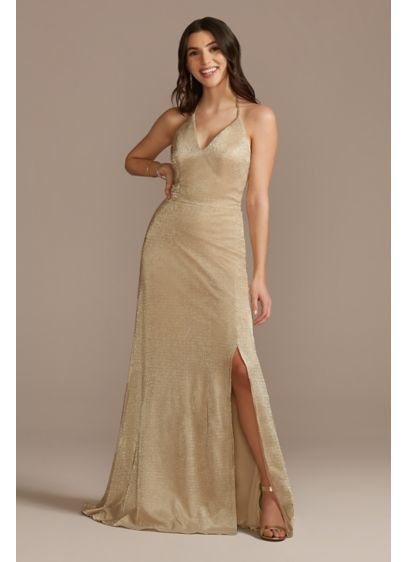 Plunging V-Neck Open Back Halter Sheath Dress - Form fitting and flattering, this floor-length, sparkling sheath