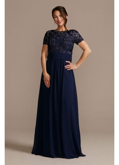 Floor Length Sheath Gown with Lace Bodice - Featuring an illusion lace bodice and a flowy