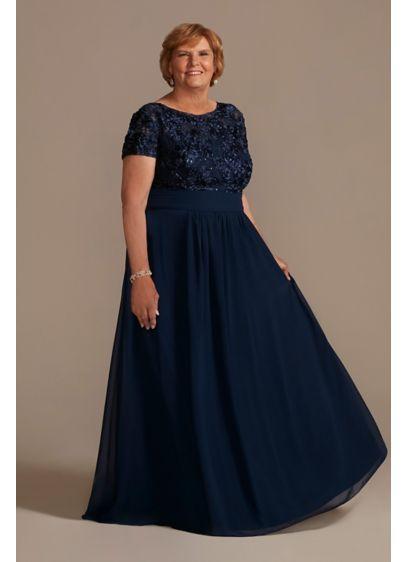 Long A-Line Short Sleeves Formal Dresses Dress - Oleg Cassini