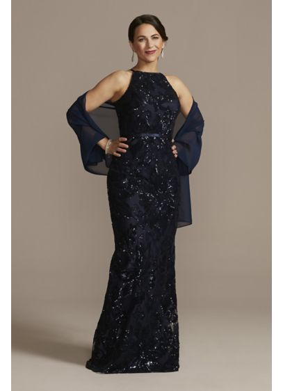 Sequin Floor Length Halter Dress with Shawl - The epitome of elegance looks a whole lot
