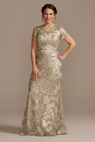 Long Sheath Cap Sleeves Dress - Oleg Cassini