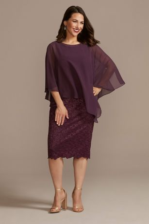 Short Sheath Capelet Dress - Oleg Cassini