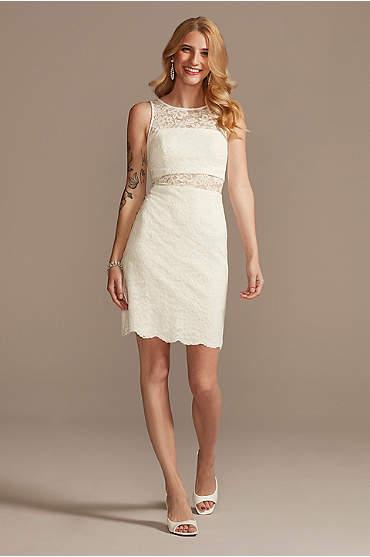 Short Lace Sheath Dress with Illusion Details