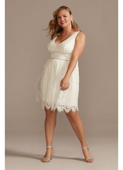 Plus V-Neck Lace Short Sheath Party Dress - Give this short plus-size lace dress a twirl