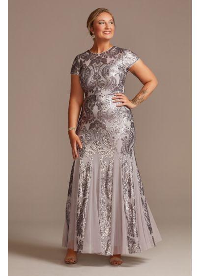 Long Sheath Cap Sleeves Formal Dresses Dress - Oleg Cassini
