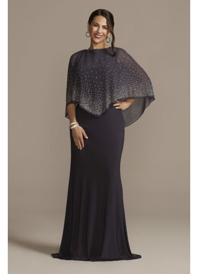 Jersey Cape Gown with Sparkle Embellishment - Why go for something simple when you can