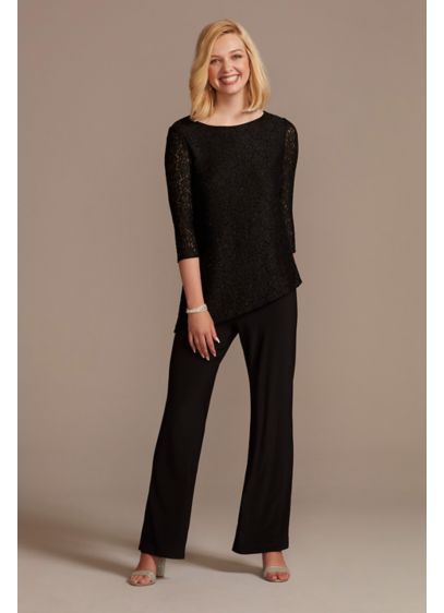 Glitter Lace Asymmetrical Top Pantsuit - An asymmetrical top adds even more interest to