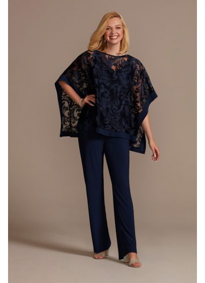 Jersey Pantsuit with Illusion Detailed Cape - Modest meets modern in this stunning pantsuit with