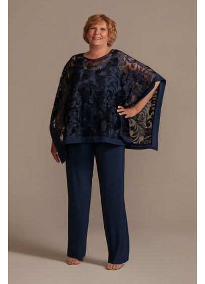 Jersey Plus Size Pantsuit with Illusion Cape - Modest meets modern in this stunning plus size