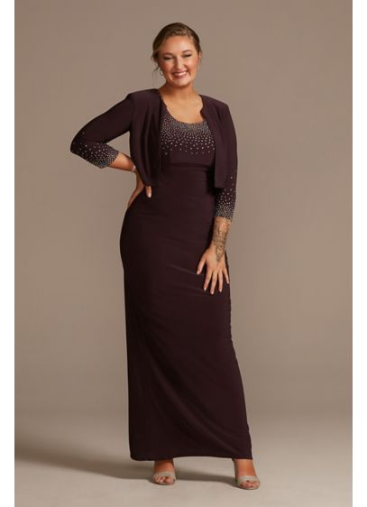 Jersey Tank Dress with Sparkle Embellished Jacket - Sparkling stones trim the neckline of this floor-length