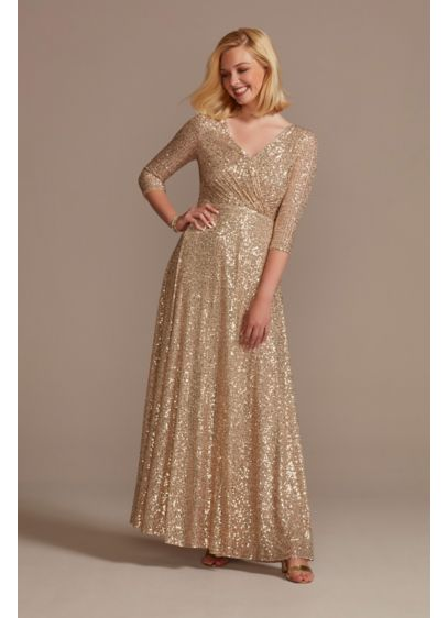 Allover Sequin A-Line Gown - Radiate glamour in this sequined A-line dress featuring