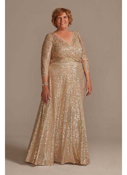 Allover Sequin A-Line Plus Size Gown - Radiate glamour in this plus size sequined A-line