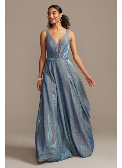 Illusion Plunge Iridescent Metallic Ball Gown - You'll be the best dressed at the party