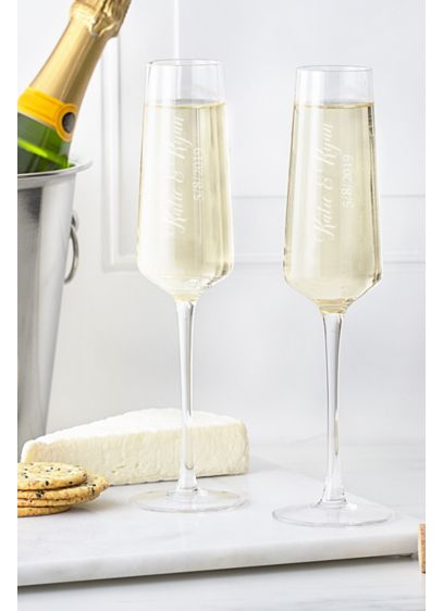 Personalized Champagne Estate Glasses Set of 2 - Wedding Gifts & Decorations