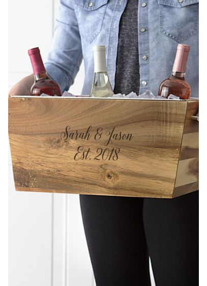 Personalized Wedding Date Acacia Beverage Trough - Wedding Gifts & Decorations
