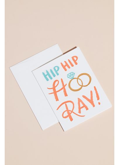 Hooray Wedding Rings Greeting Card with Envelope - Celebrate the newlyweds with a sweet