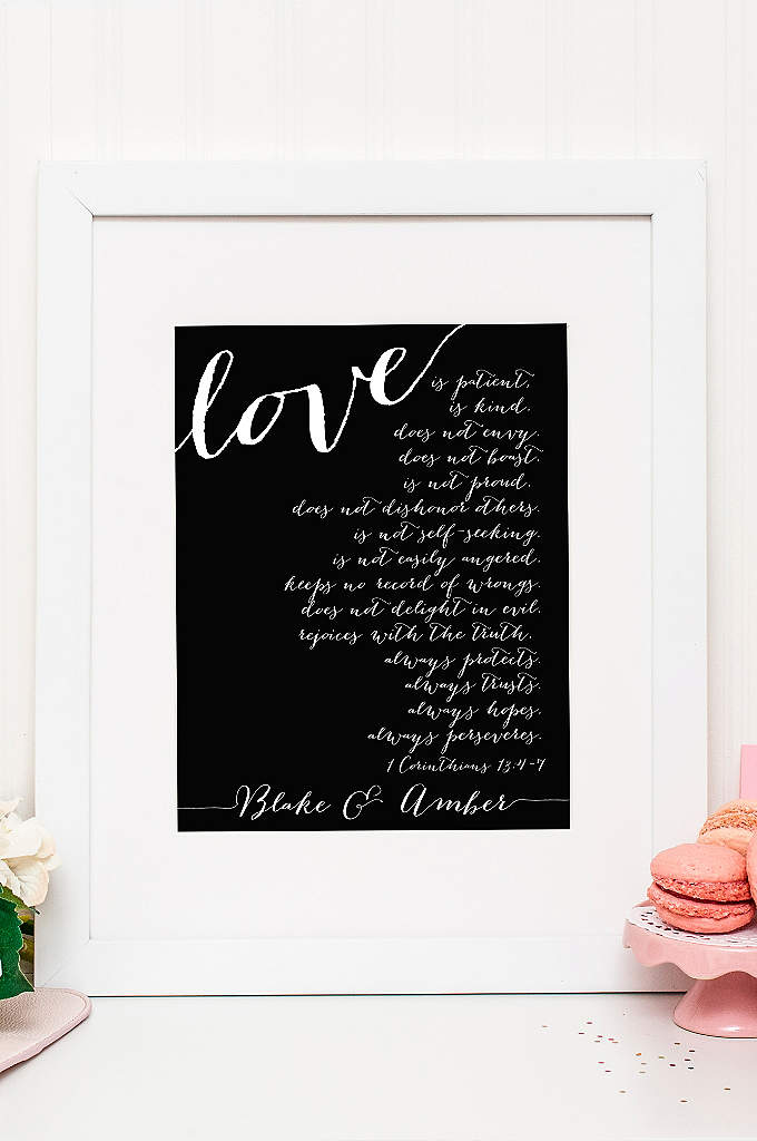 Personalized Corinthians Verse Wedding Sign - This personalized sign features the words of 1