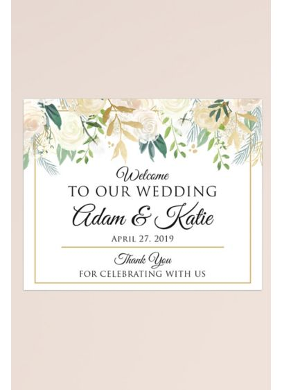 Gold Floral Personalized Wedding Welcome Sign - Welcome guests to your wedding with this lovely