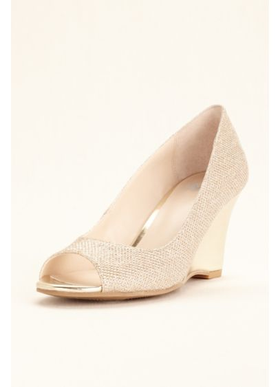David's Bridal Grey (Glitter Peep Toe Wedge)