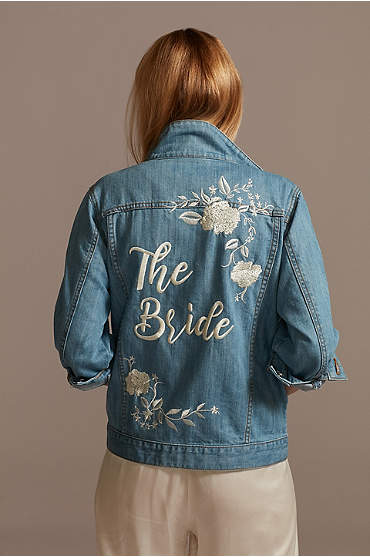 Embroidered Bride Jean Jacket with Flowers