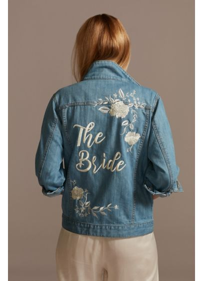 Embroidered Bride Jean Jacket with Flowers - Wedding Gifts & Decorations